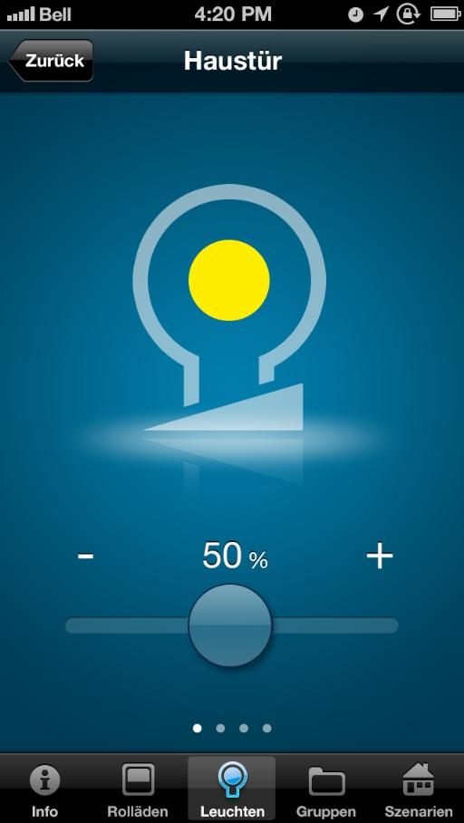 iphone app f r rollladensteuerung jalousiesteuerung lichtsteuerung. Black Bedroom Furniture Sets. Home Design Ideas